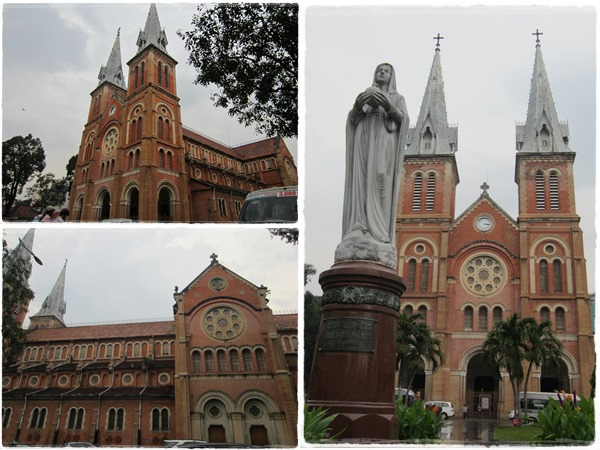 Admire the majestic architecture with 2 60m tall bell towers standing behind Virgin Mary statue
