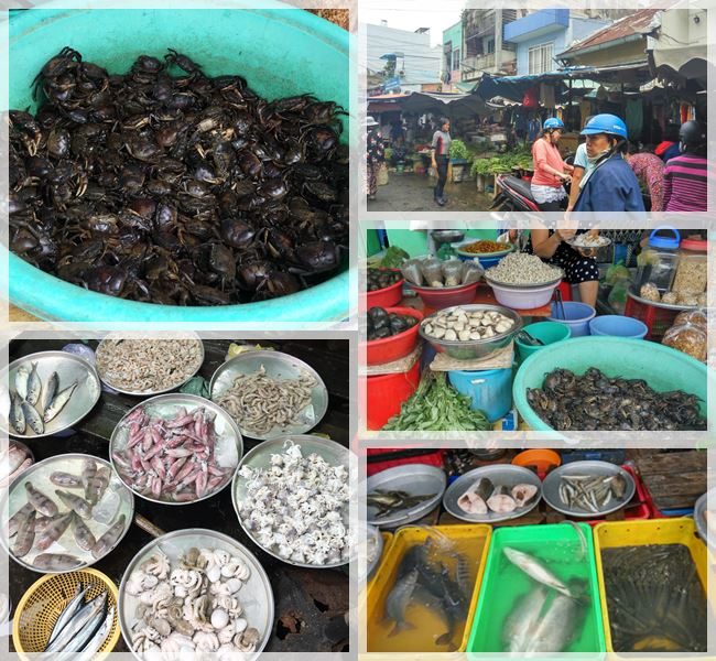 Live seafood at the wet market section